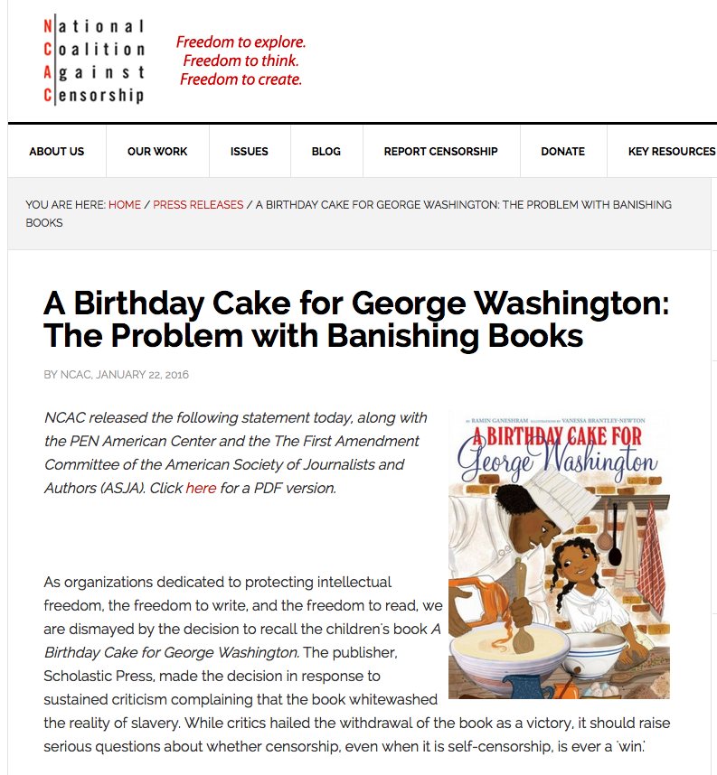 Have You Been Following The A Birthday Cake For George Washington Controversy