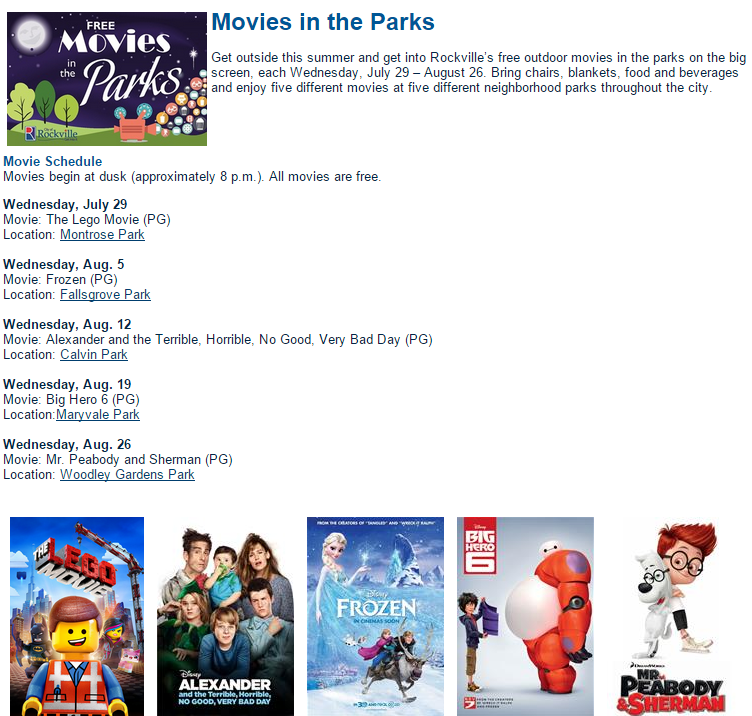 Free Movies In The parks