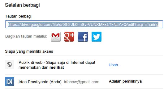 Setelan berbagi tautan di google drive