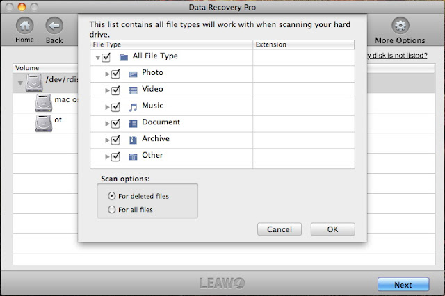leawo data recovery mac scan option