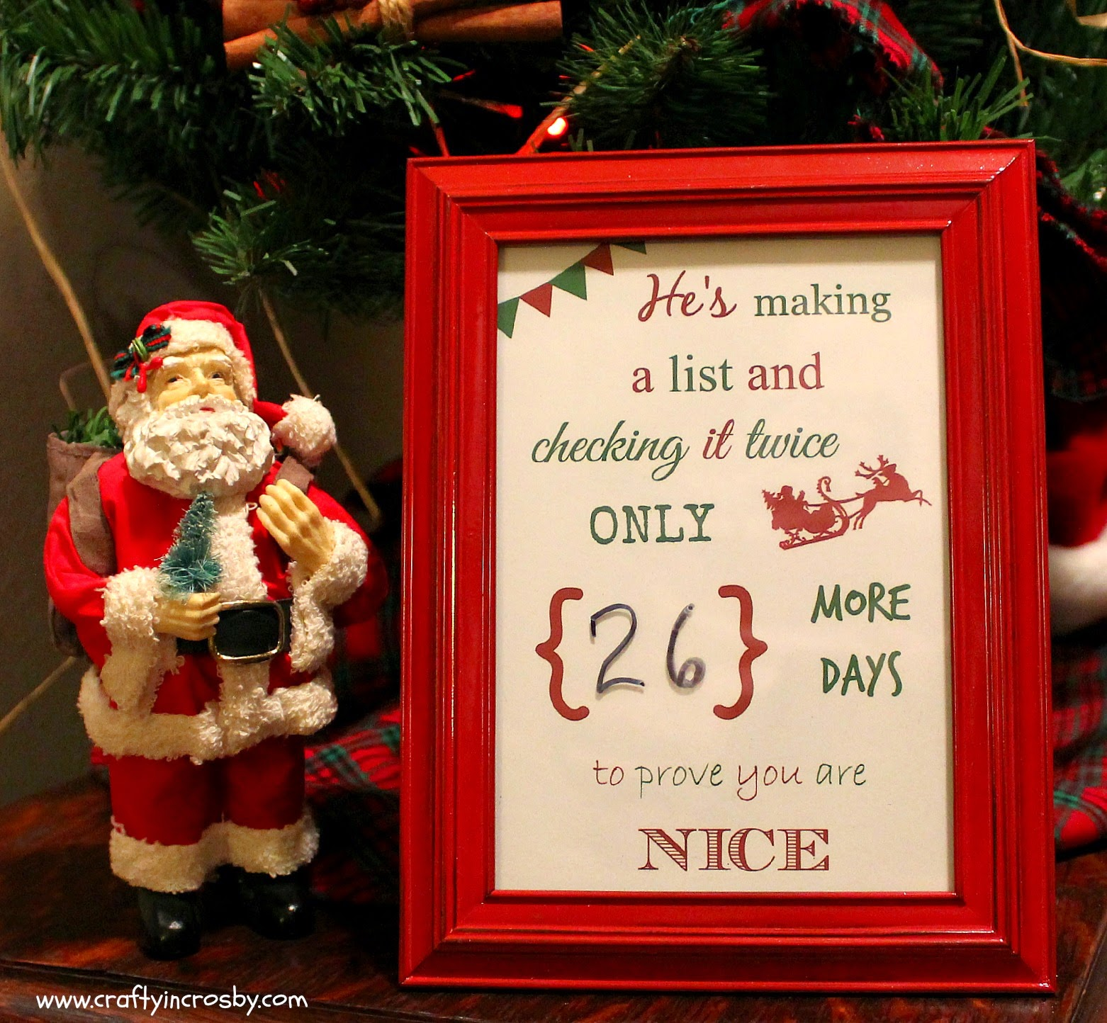 Free Christmas Countdown Printable, Santa Claus, He's Making a List, Christmas DIY, Easy Christmas Craft