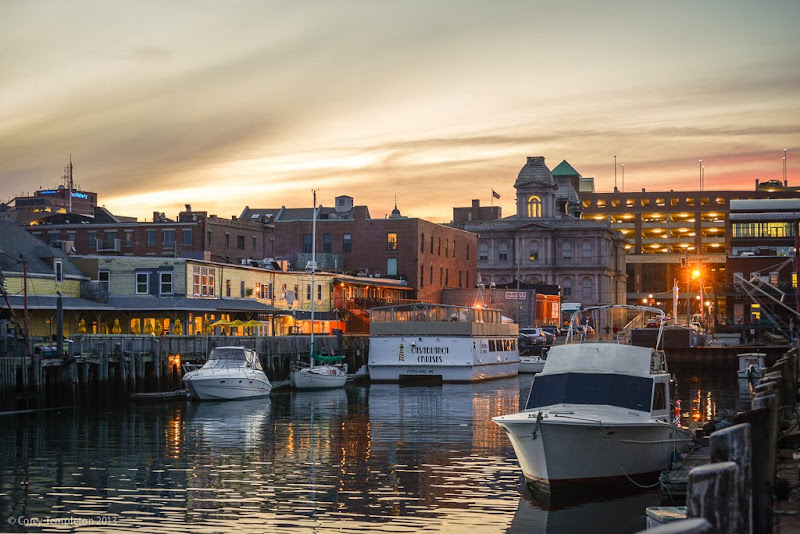 Portland, Maine Sunset from Maine Wharf in the Old Port. Photo by Corey Templeton.