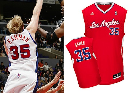 Chris Kaman Misspelled Clippers Jersey. I am not sure which one is right! Kamman; Kamen or Kaman!