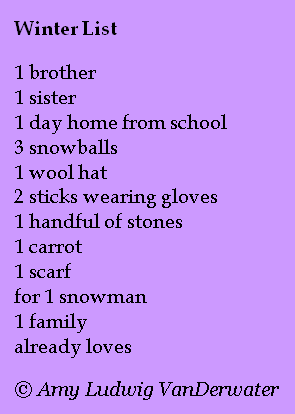 The Poem Farm: Winter List - List Poems Can Tell Stories