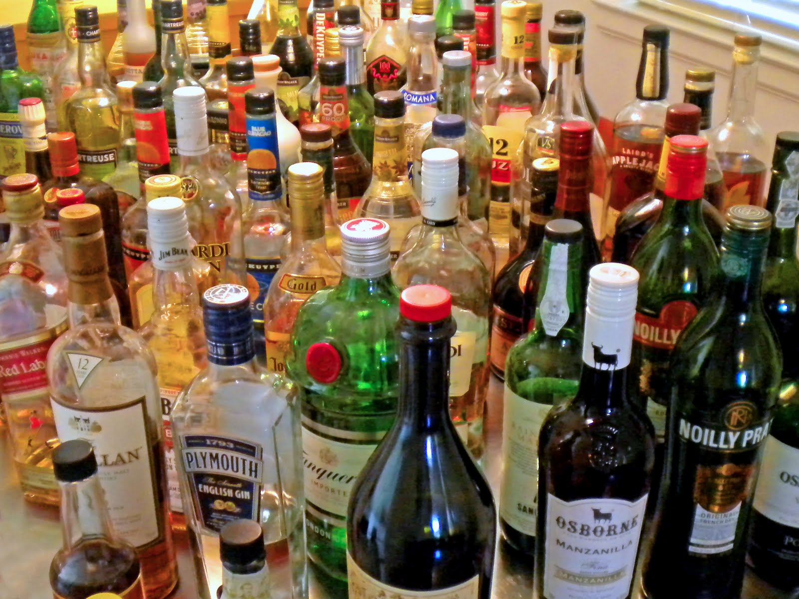table full of booze