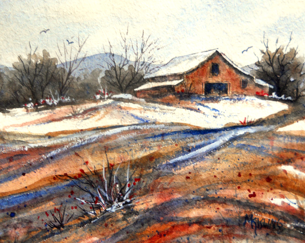 Martha kisling art with heart old barn snow and mad men for Watercolor barn paintings