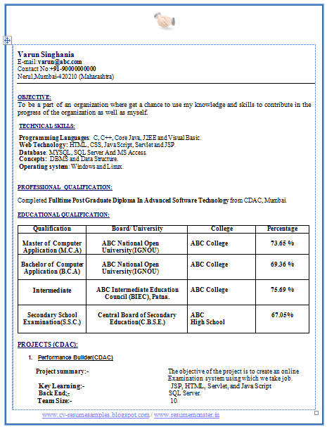 Sample format of resume for fresher