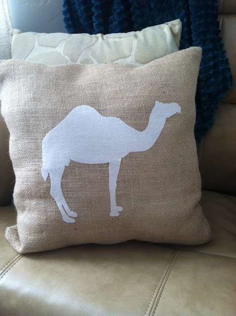 Burlap pillow, chic nursery