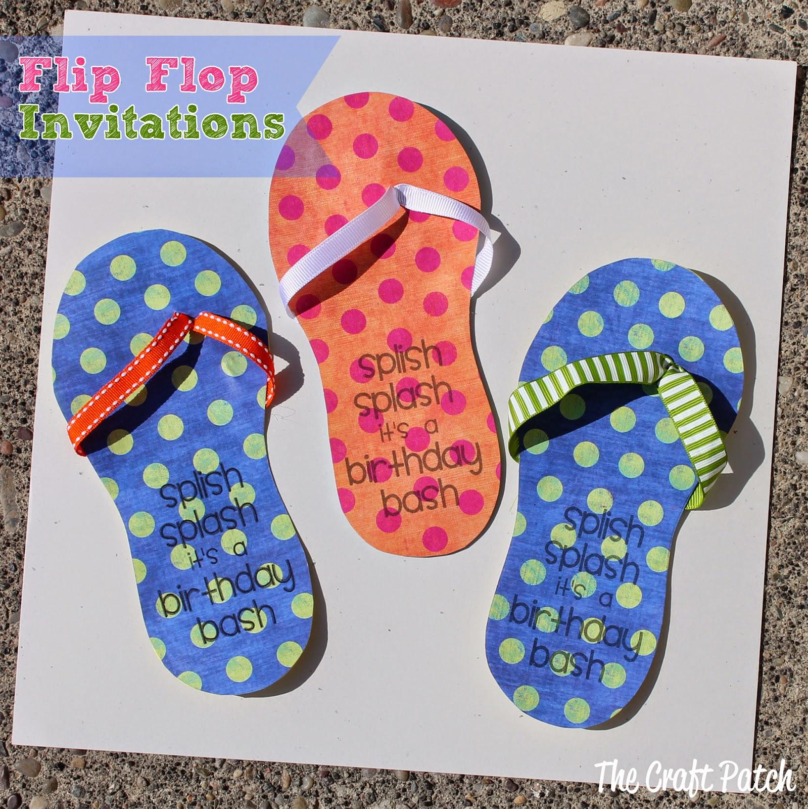 The craft patch flip flop invitations for Flip flops for crafts