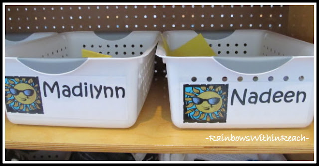 photo of: Individual Bins Labeled by Name (Organizational RoundUP via RainbowsWIthinReach)