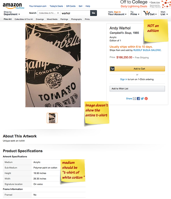 $166,500 Andy Warhol is actually a T-Shirt on White Cotton, nothing more