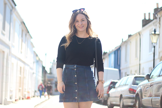topshop denim skirt