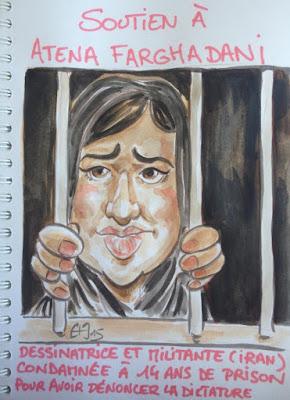 Caricature de soutien à Atena Farghadani.Guillaume Néel©