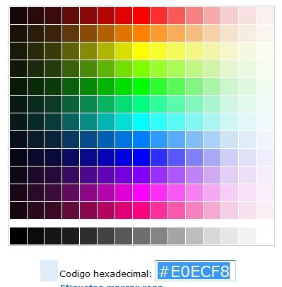 Tic tabla de cdigos hexadecimales su correspondiente cdigo para poder cambiar nuestro html html color codecs nos muestra una tabla de colores que al pinchar sobre cualquiera de ellos urtaz Choice Image