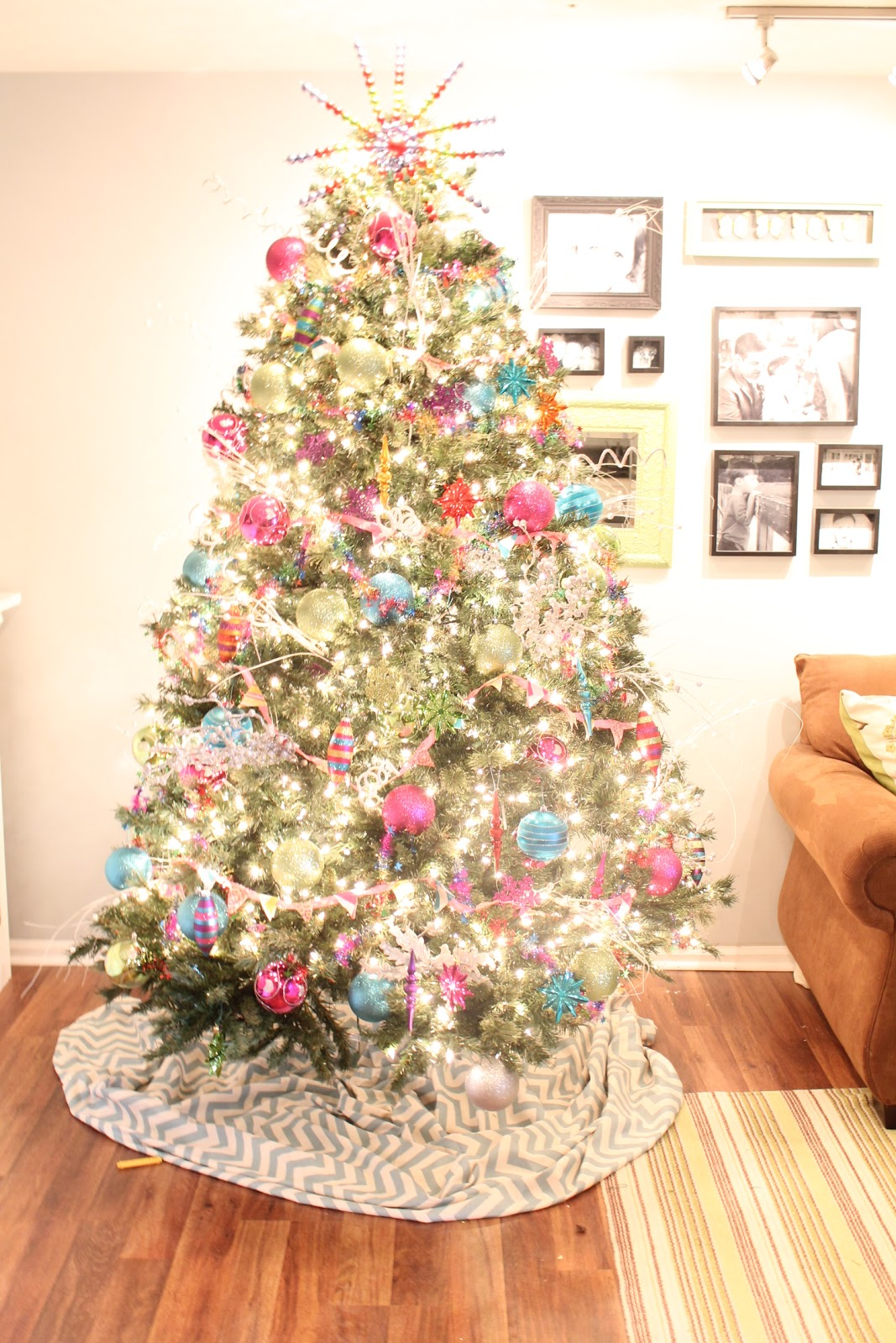 Woven home bright colorful playroom christmas tree and