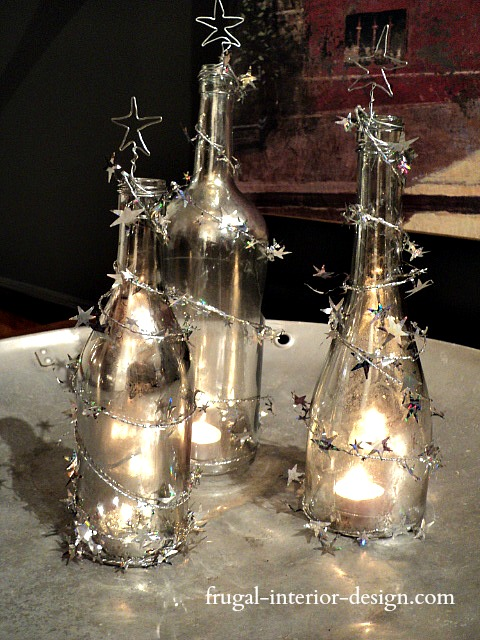 The frugal tree holiday wine bottle craft for Christmas craft ideas with wine bottles