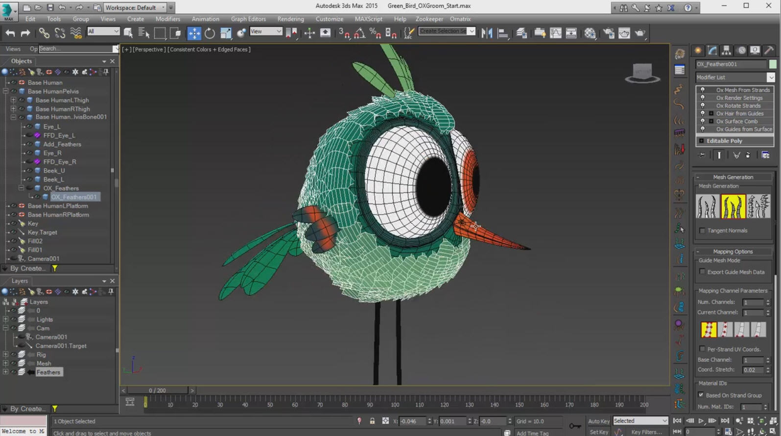 Making a feathered bird with ornatrix for 3ds max cg for Tutorial 3d max