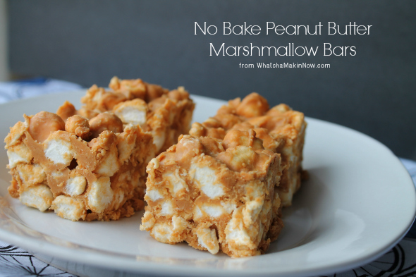 No Bake Peanut Butter Marshmallow Bars -- 4 ingredients, no bake so perfect for the summer!