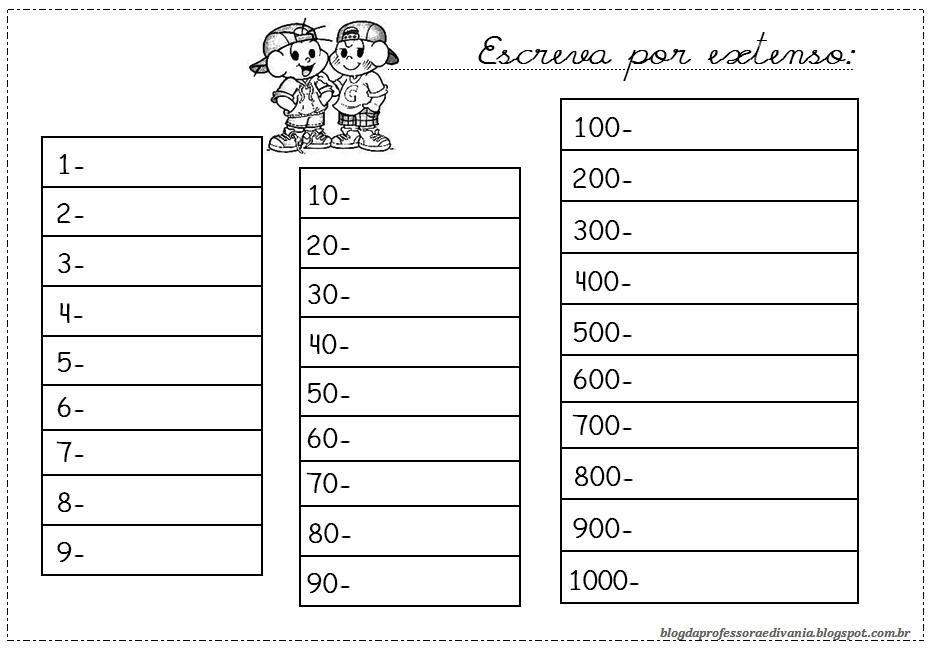 Escrever por extenso - Números 1 a 1000 - Unidade dezena centena
