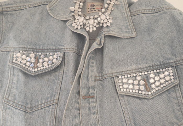 DIY-Denim-Jeans-Jeansjacke-Glitter-Selfmade-Vintage-Jeans-Leivs-Old-Look-Style-Do it yourself-Fashion-Mode-Fashionblog-Modeblog