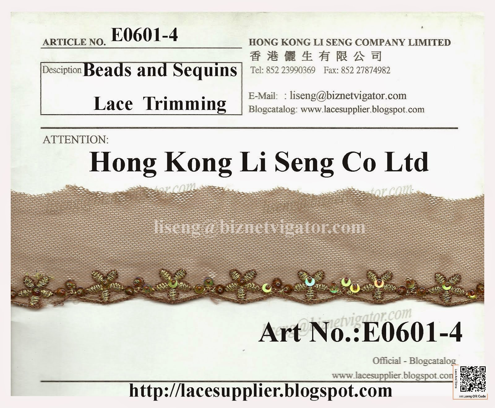 Beads and Sequins Lace Trims Supplier - Hong Kong Li Seng Co Ltd