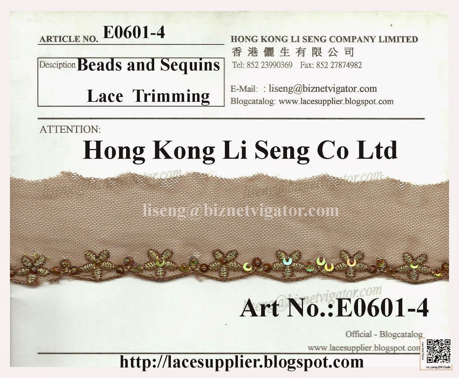 Beads and Sequins Lace Trims Supplier - Hong Kong Li Seng Co Ltd