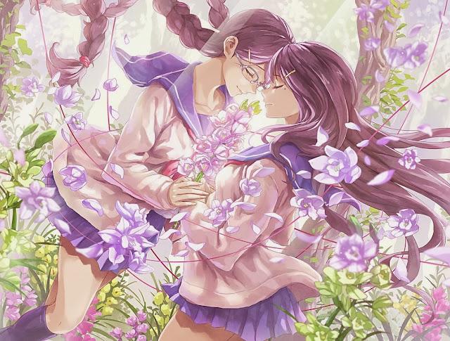 anime girls,anime yuri,anime hug