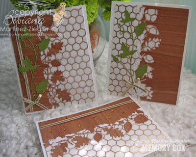 NEW autumn leaves in wood veneer and parchment card trio