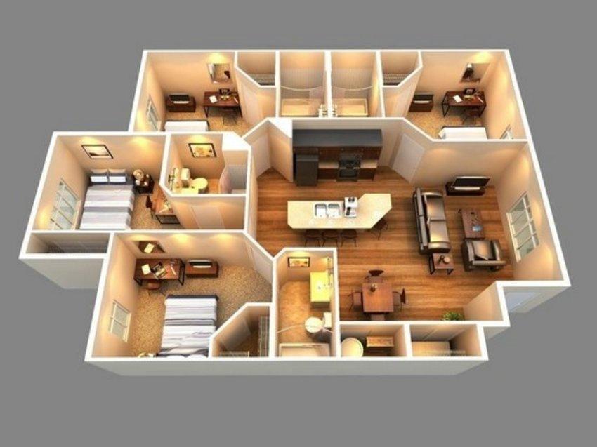 3D Floor Plan On Architectural 4