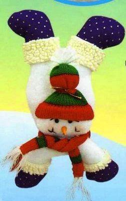 Boneco de neve em feltro com moldes