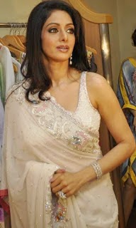 Sridevi Bollywood Celebrity Looking Hot in Transparent Saree