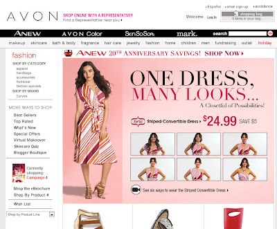 Front page of Avon's Fashion department
