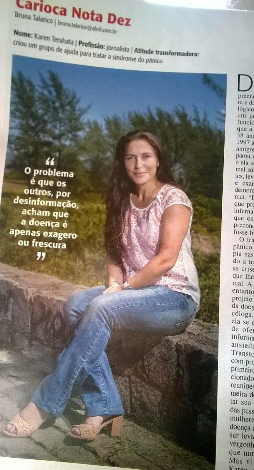 Matéria sobre Karen Terahata e o projeto Sem Transtorno publicada na Veja Rio (março/2014)
