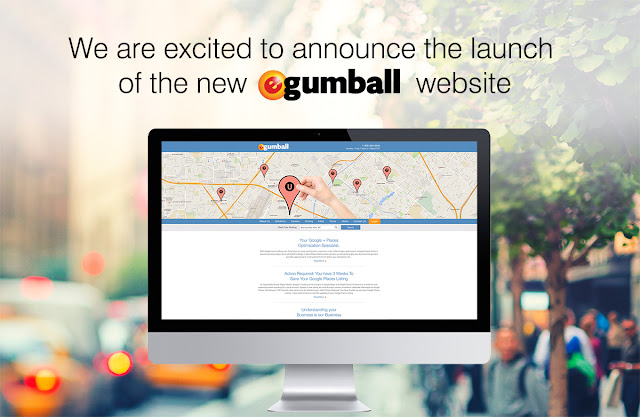 "The text, ""We are excited to announce the launch of the new eGumball website"" floats above a computer screen with the brand new eGumball, Inc. homepage."