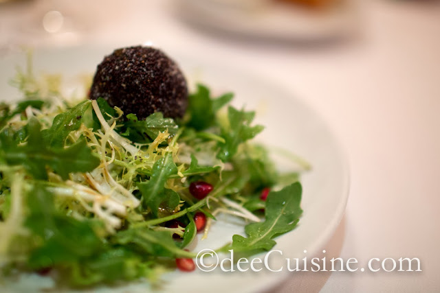 Coach Farm Goat Cheese Truffle with Amba Arugula and Pomegranate Vinaigrette