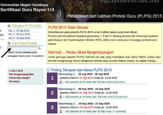 Kontak Pencarian data peserta PLPG Unesa 2015