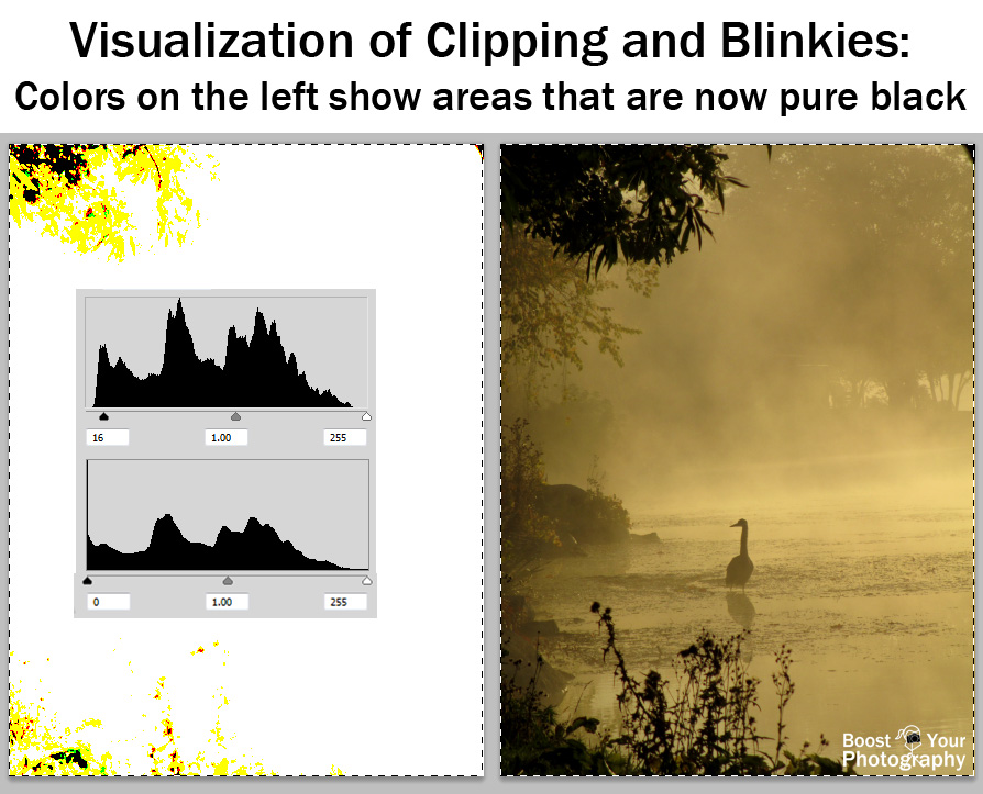 Visualization of clipping and blinkies: colors on the left show areas that are now pure black | Boost Your Photography