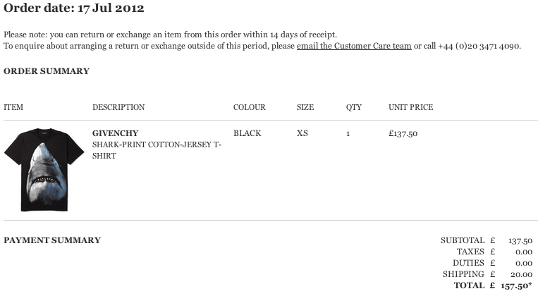 645650d1c42 Here is the current difference that I had measured. A few month s ago, I  paid £137.50 for a Givenchy Shark-Print Cotton-Jersey T-shirt at