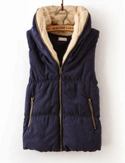 Navy hooded sleeveless zipper vest fashion style