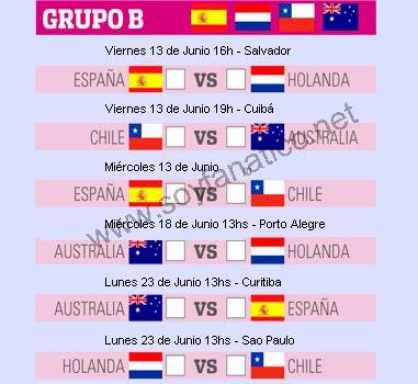 Grupo B Mundial Brasil 2014 - Horarios y partidos