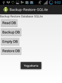 Android Backup SQLite ke SDCard dan Restore Database, Import SQLite dari SDCard ke Aplikasi