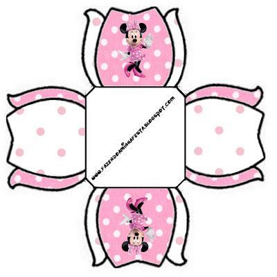 cajita imprimible gratis de Minnie Mouse con forma de tulipán