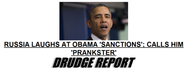 screenshot of DrudgeReport headline March 17 2014 - Russia Laughs at Obama Sanctions, Calls Him Prankster