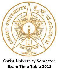 Christ University Exam Time Table 2016 Nov Dec Sem