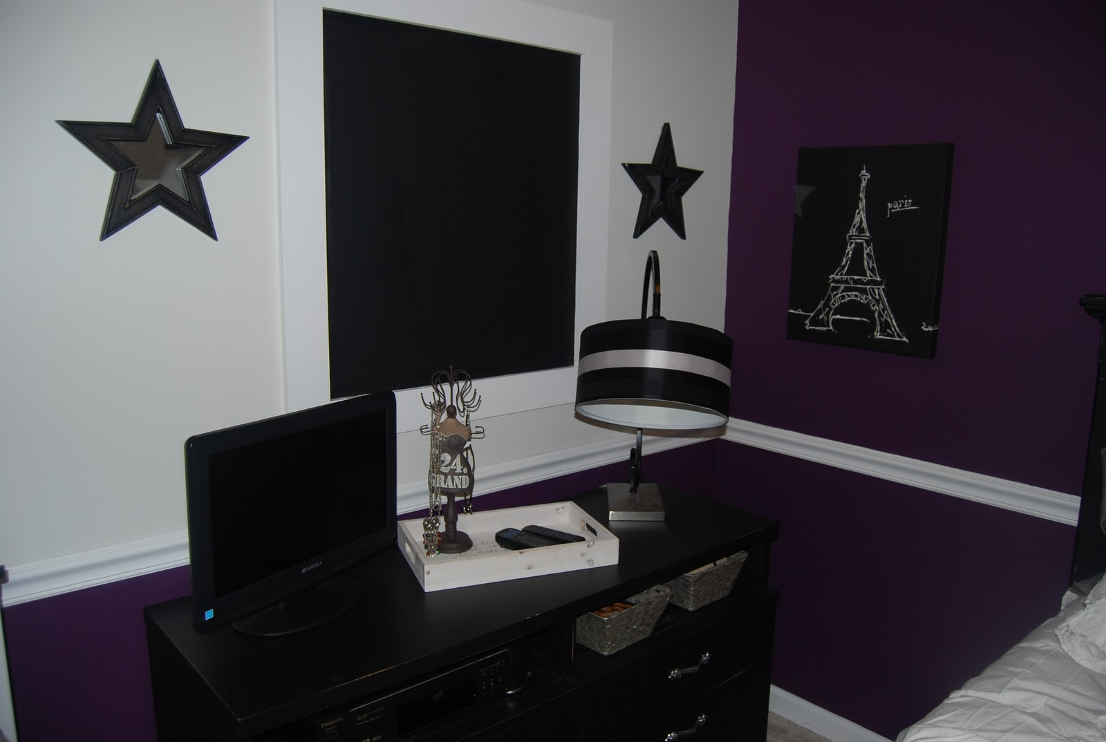 Black and purple bedroom - Purple Paris Themed Bedroom Style Ideas