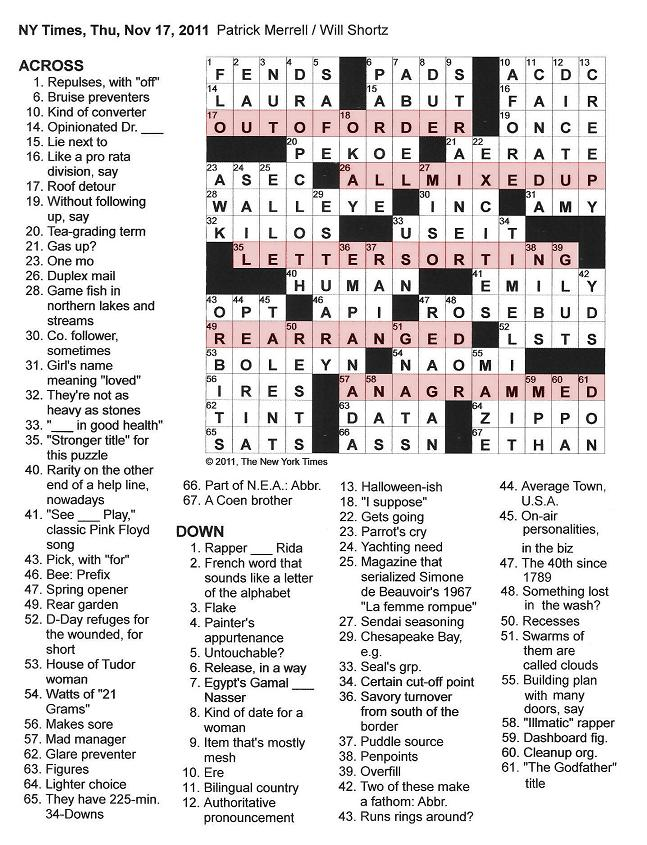 The New York Times Crossword In Gothic 111711 Letter