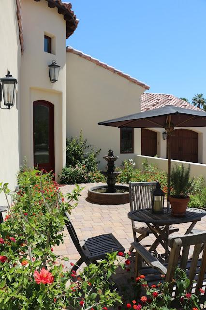 garden fountain, arizona gardens, arizona landscape, spanish garden