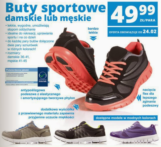 Buty sportowe damskie lub męskie z Biedronki ulotka
