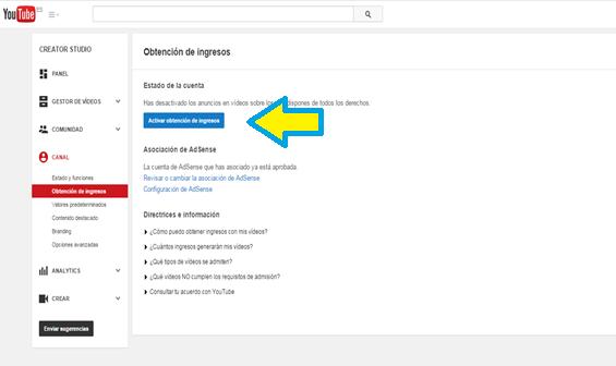 Monetización, Canal, Activar, YouTube