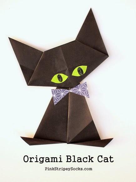 origami black cat pink stripey socks